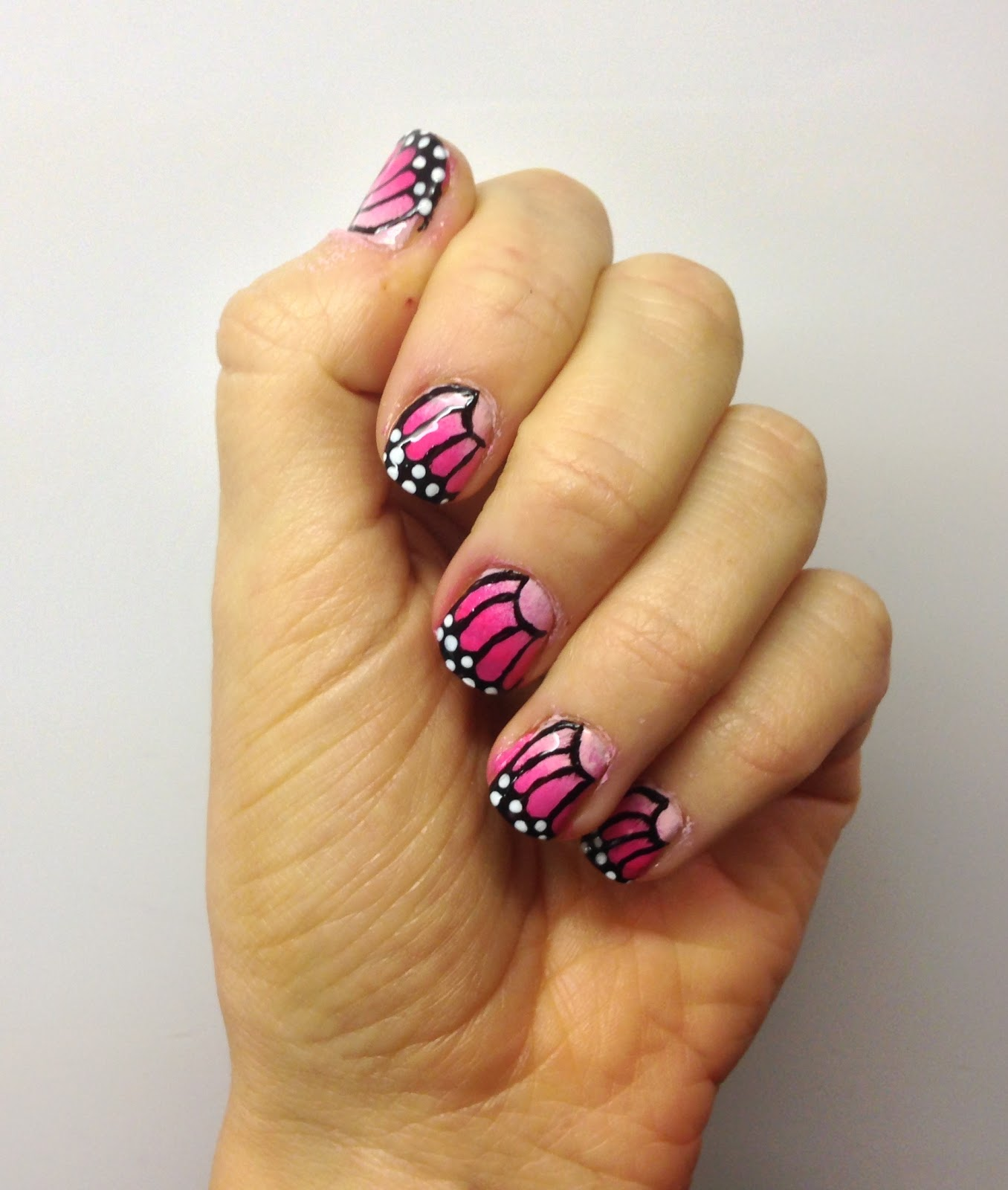 Butterfly Nail Art: AbiGirl: Pink Butterfly Ombre Nail Art Tutorial