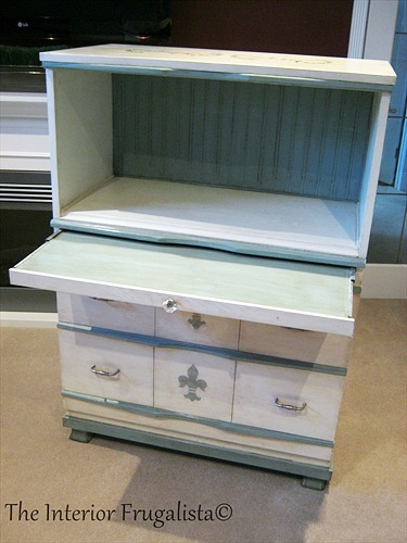Pull out desk painted Duck Egg Blue on Faux Secretary