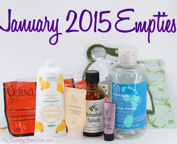 Beauty products used up in January 2015