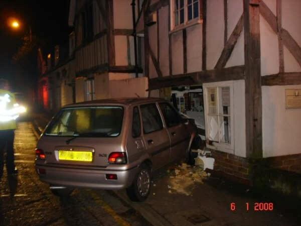 Funny car cottage accident drink driving joke