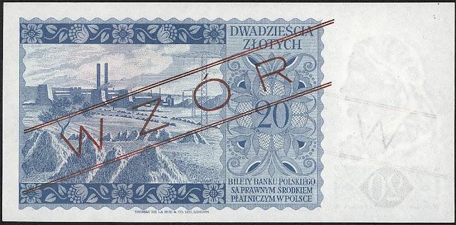 Poland currency 20 Polish bank notes złoty bill