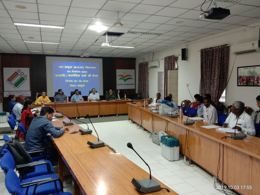 Jhabua News-विधानसभा क्षेत्र-193 झाबुआ के उप निर्वाचन हेतु प्रत्याशी/राजनीतिकदलो की बैठक संपन्न