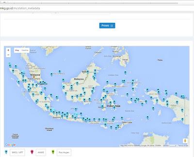 Peta jaringan pengamatan iklim BMKG