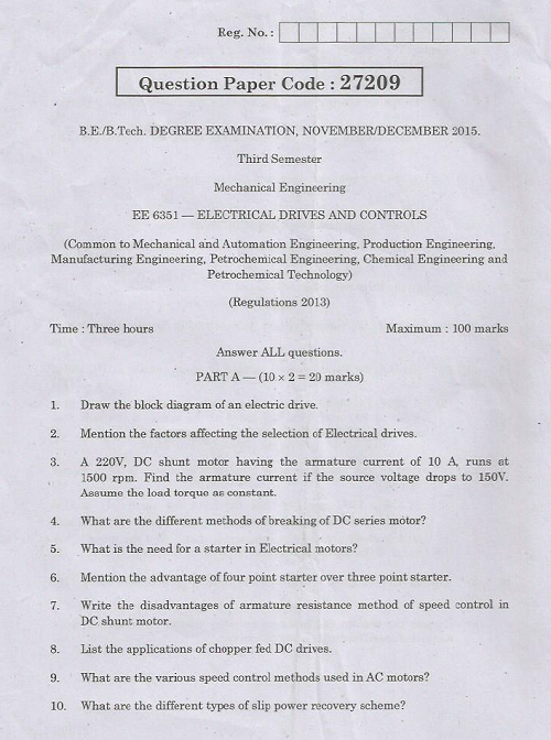 EE6351 Electrical Drives and Controls Nov Dec 2015 Question