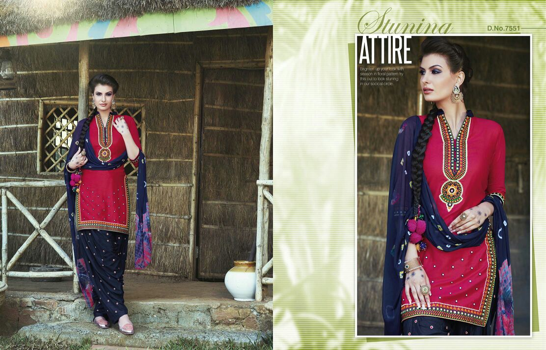 Patiala House-42 –  Designer Cotton Printed with Embroidery work Patiyala  Dress Material