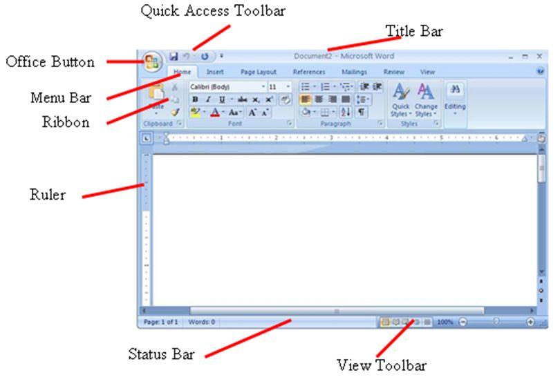 Image result for gambar bagian ms.word 2007
