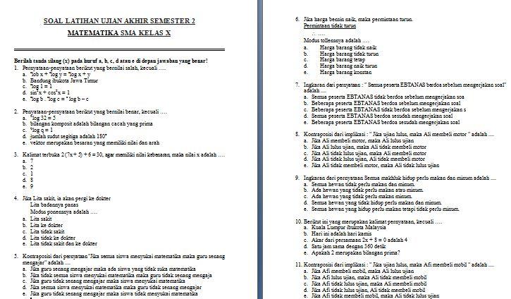 Contoh Soal Latihan UAS Semester Genap SMA Kelas X Mata Pelajaran Matematika Format Microsoft Word