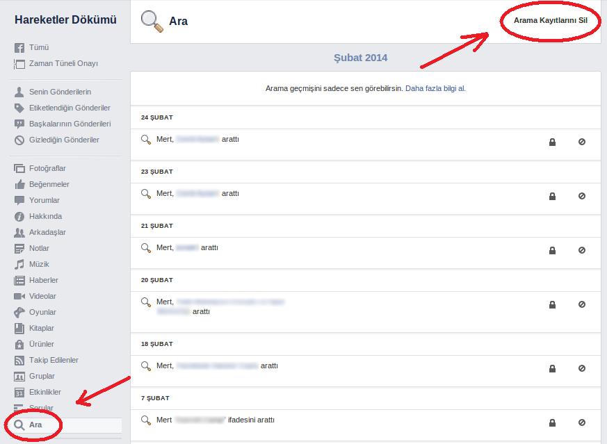facebookta arama geçmişini görüntüleme