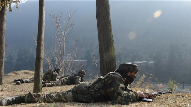 Image Attribute: File photo of Indian Army soldiers participating in a counter-terror operation in Kashmir / Source: ANI
