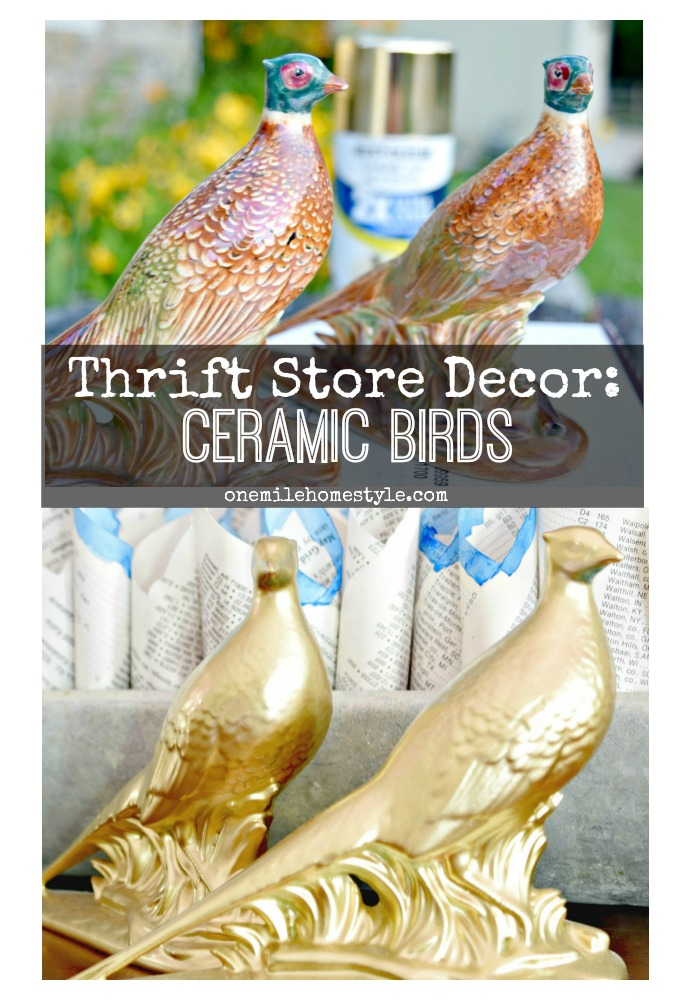 Don't pass up those dated ceramic animals next time you are at the thrift store! It's so easy to give them a quick DIY makeover to make them the perfect accent in your home! - One Mile Home Style