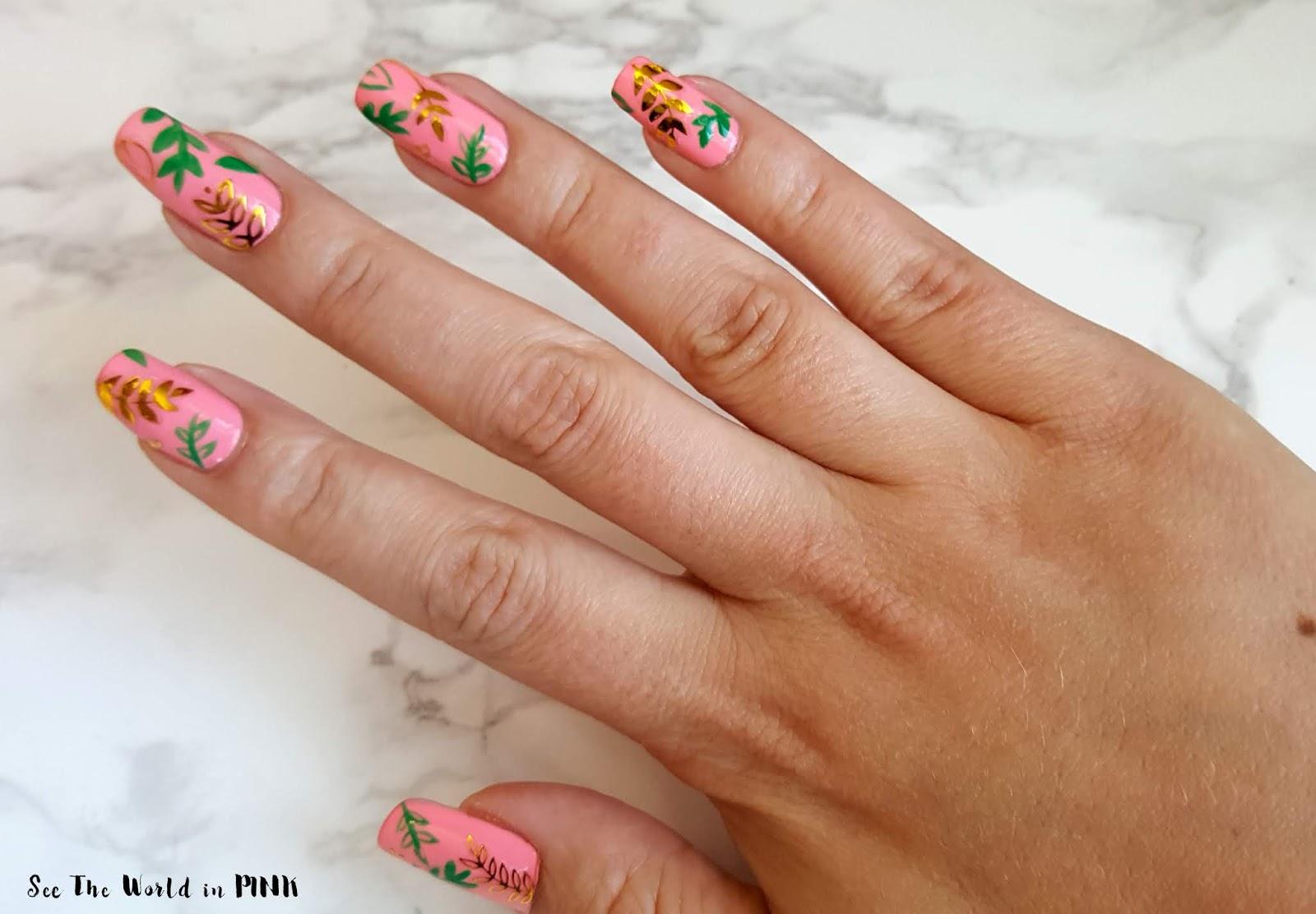 Manicure Monday - Green and Gold Foliage Nails!