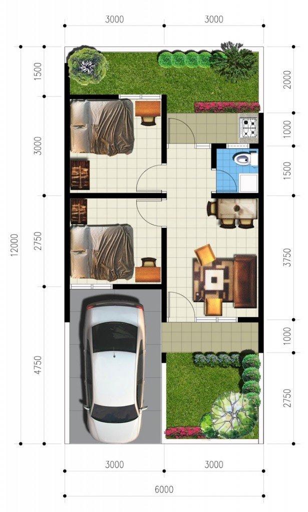 33 Denah Rumah Minimalis 2 Kamar Tidur - Rumahku Unik