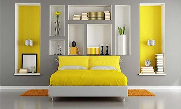 Cara penggunaan warna kuning di kamar tidur
