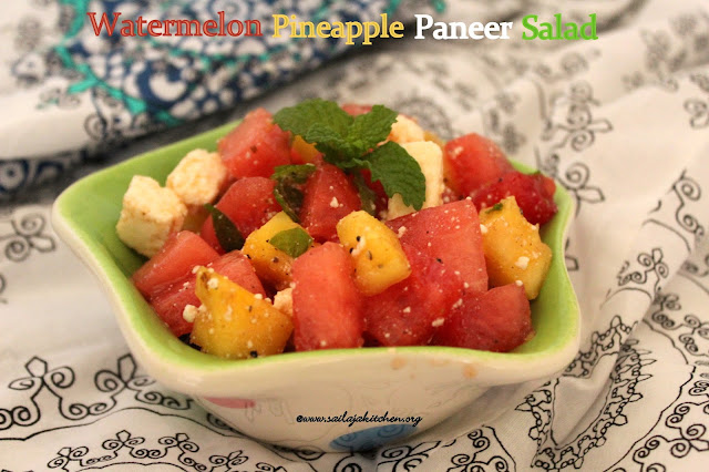 images of Watermelon Pineapple Paneer Salad  Recipe / Healthy Salad Recipes