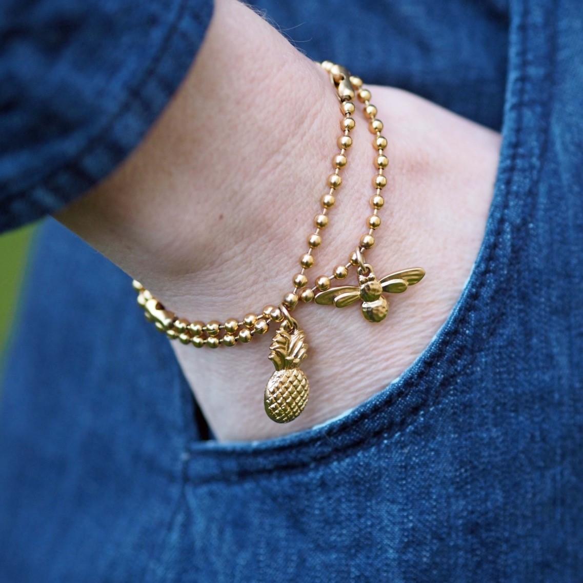 Danon pineapple bracelet, Danon honey bee bracelet