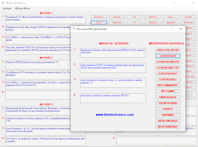 Programa Modos de Servicio. www.kitelectronica.com