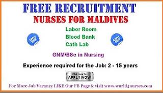 Free staff nurses  recruitment for Maldives.