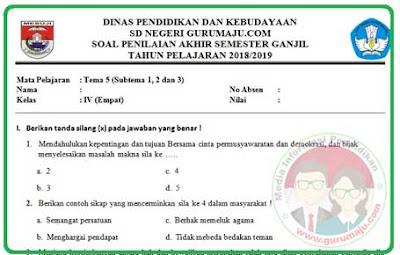 Soal UAS / PAS Kelas 4 Tema 5 Kurikulum 2013 Revisi 2018