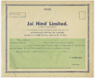 share certificate from the Jai Hind Limited company
