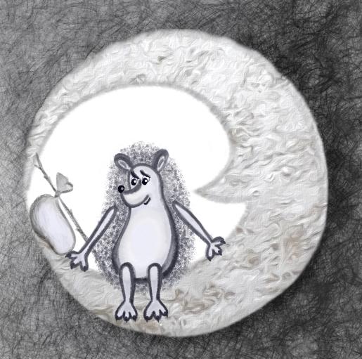 "картинка иллюстрация арт ""ежик с узелком сидит на луне и ждет лошадку"" p_i_r_a_n_y_a"