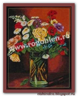 "Download embroidery scheme Rogoblen 7.47 ""Flowers in a Glass"""