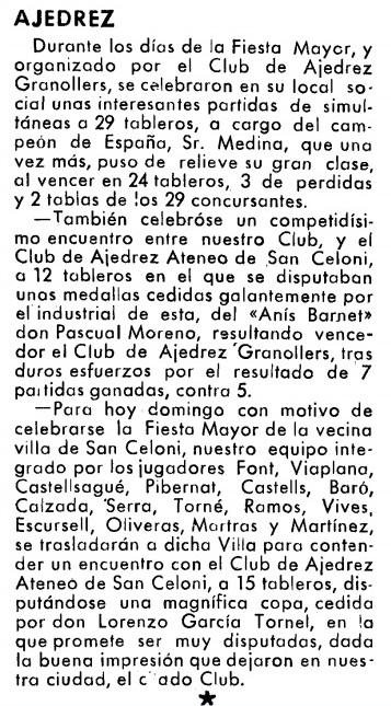 Recorte de la revista Vallés, Granollers 1945