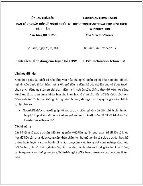 'Danh sách hành động của Tuyên bố EOSC' - bản dịch sang tiếng Việt