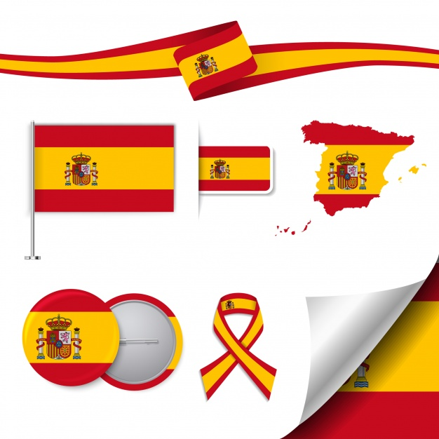 Stationery elements collection with the flag of spain design Free Vector