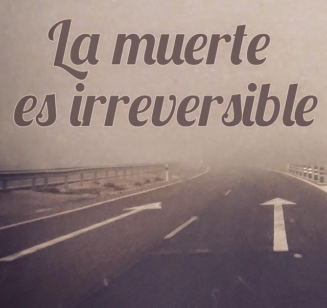 """Imagen de una autopista con un único sentido y con la frase """"la muerte es irreversible"""""""