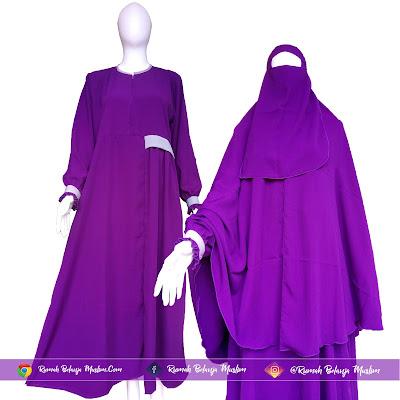 Hijab Syar'i Wolfis Ungu Terong