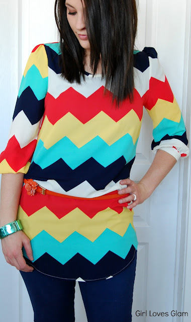 Chevron shirt and skinny jeans
