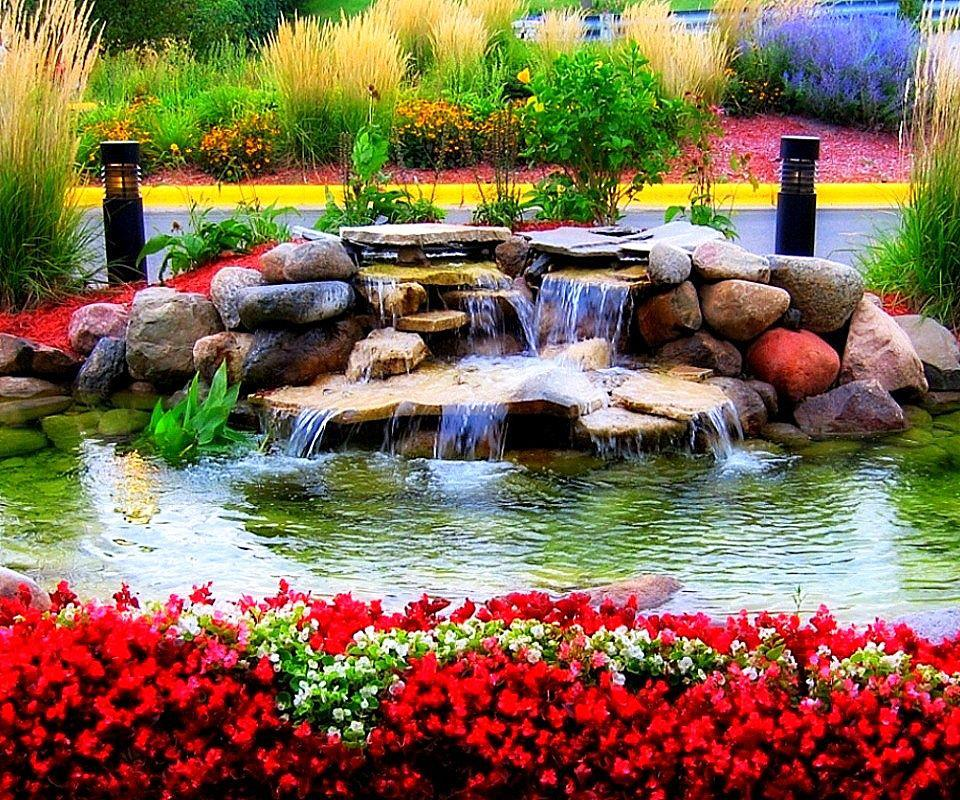 waterfall nature river flower hd god creation rock wallpapers