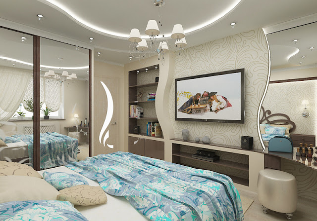 pop ceiling designs for bedroom and double glass door wall cabinets and beautiful storage compartments