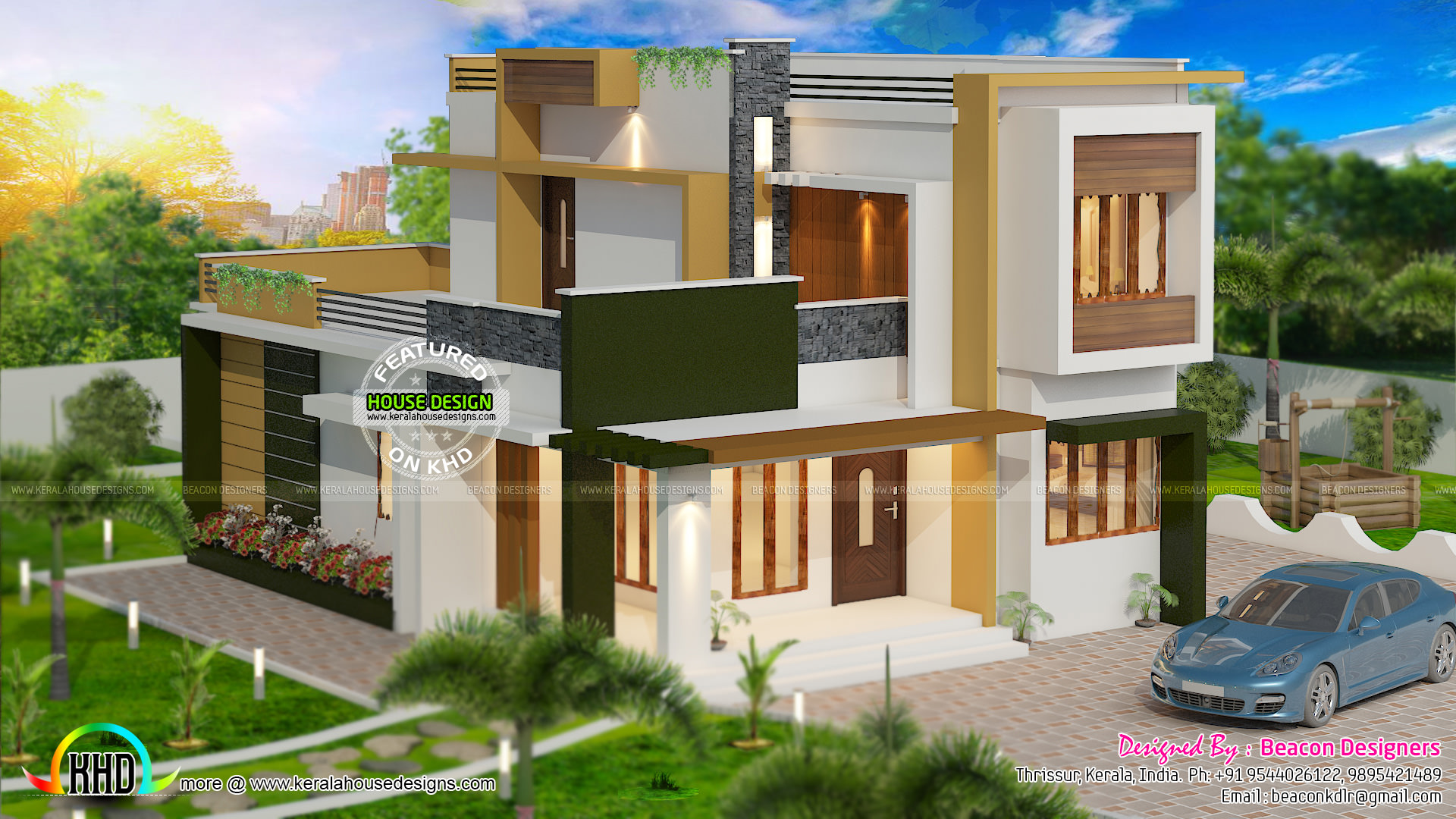 Double floor flat roof home 1714 sq ft kerala home for Home designs double floor
