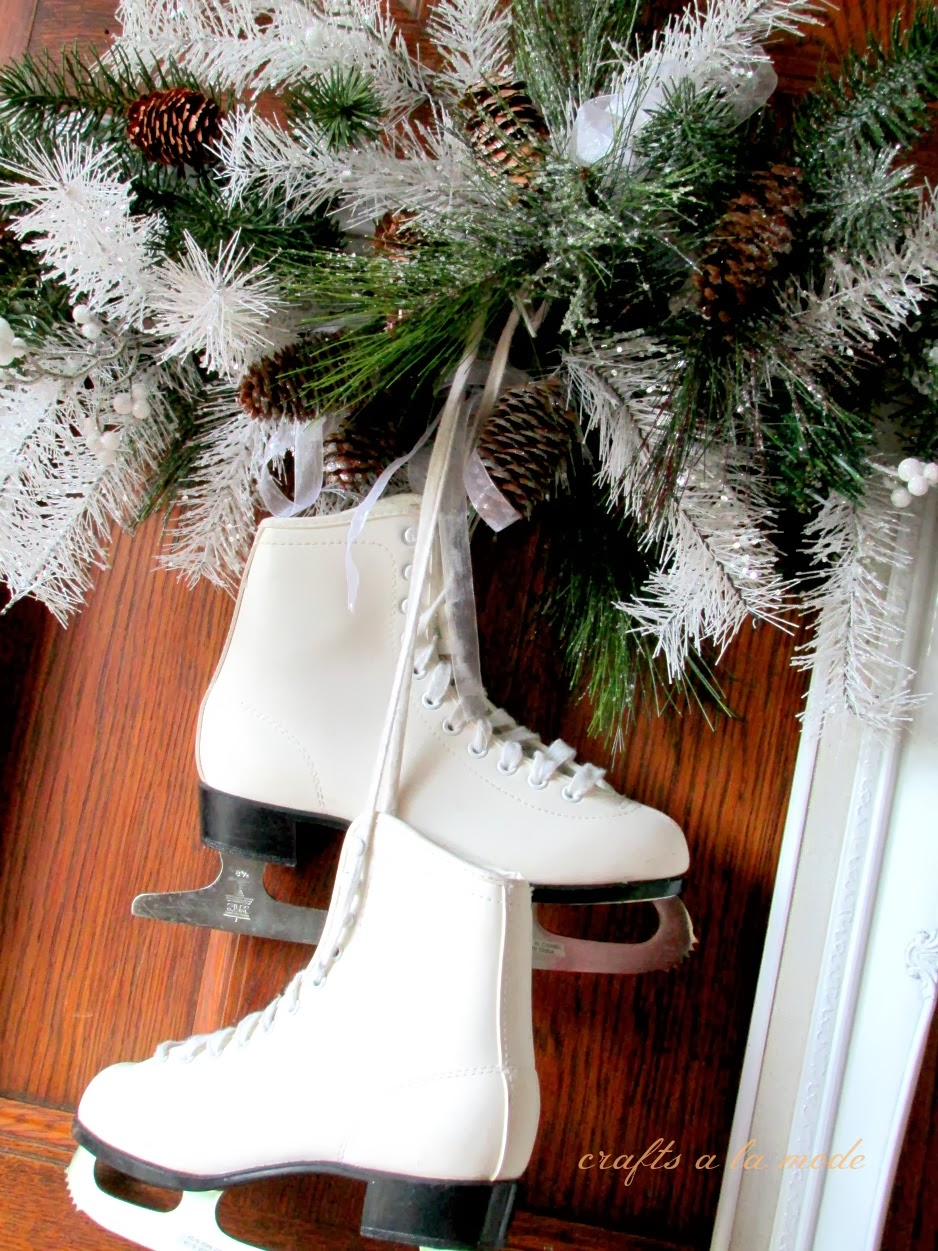 Winter White Wreath with Ice Skates - Crafts a la mode
