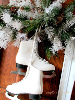 white skates in a door decoration
