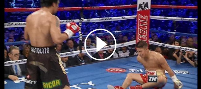 Watch Manny Pacquiao's 2nd Round KNOCKDOWN of Jessie Vargas (VIDEO)
