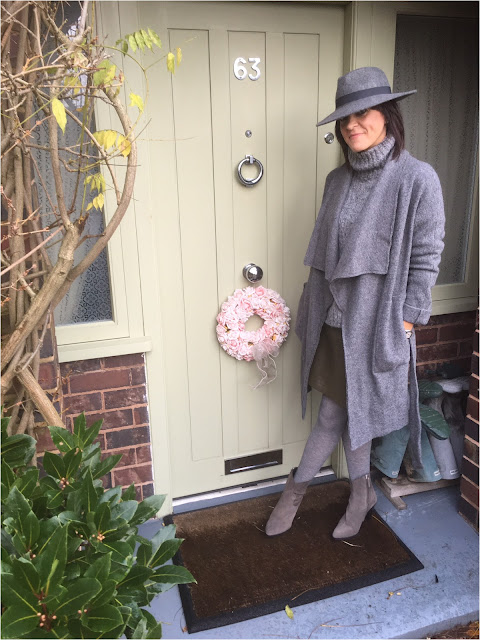 My Midlife Fashion, Zara Draped Wool Coat, Fedora hat, trilby hat, chunky knit roll neck jumper, pleather a line skirt, zara cowboy heel boots