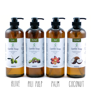 500mL Bottle of Unscented Olive, Pili, Palm and Coconut Castile Soap