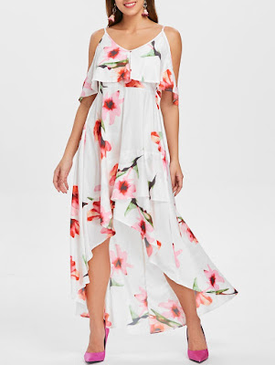 Floral Print Cami Strap Maxi Flowy Dress - White