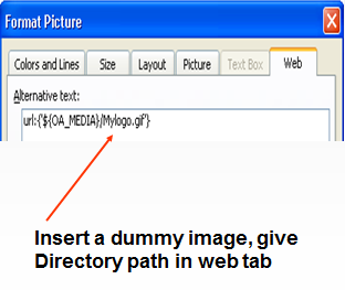 Insert a dummy image, give Directory path in web tab