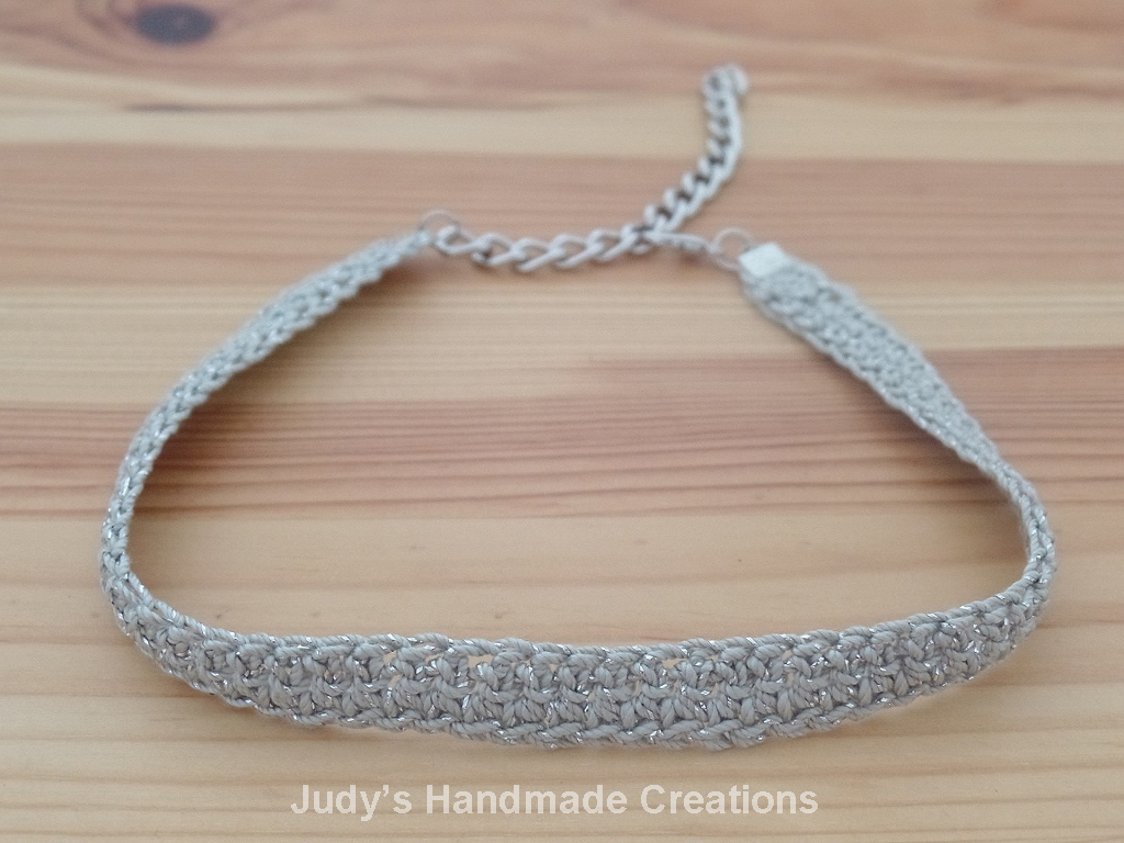 Judys Handmade Creations: Gray Metallic Crochet Choker Necklace