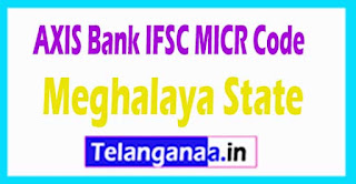 AXIS BANK IFSC MICR Code Meghalaya State