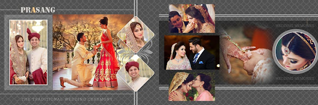 Wedding photo album design psd templates 12x36 collection