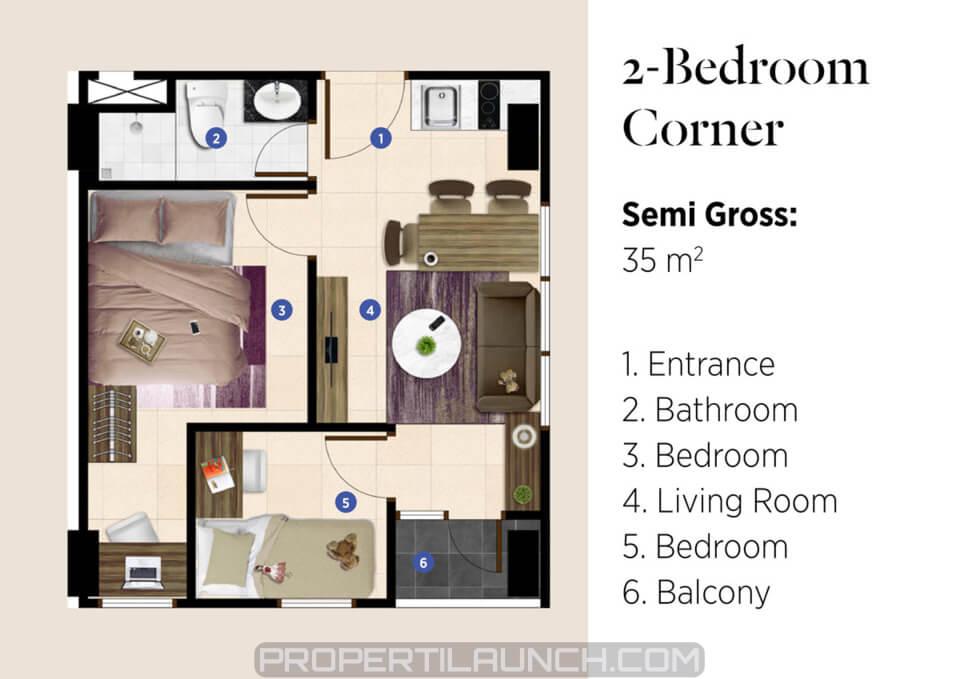 Apartemen SEGAR tipe 2 BR Corner