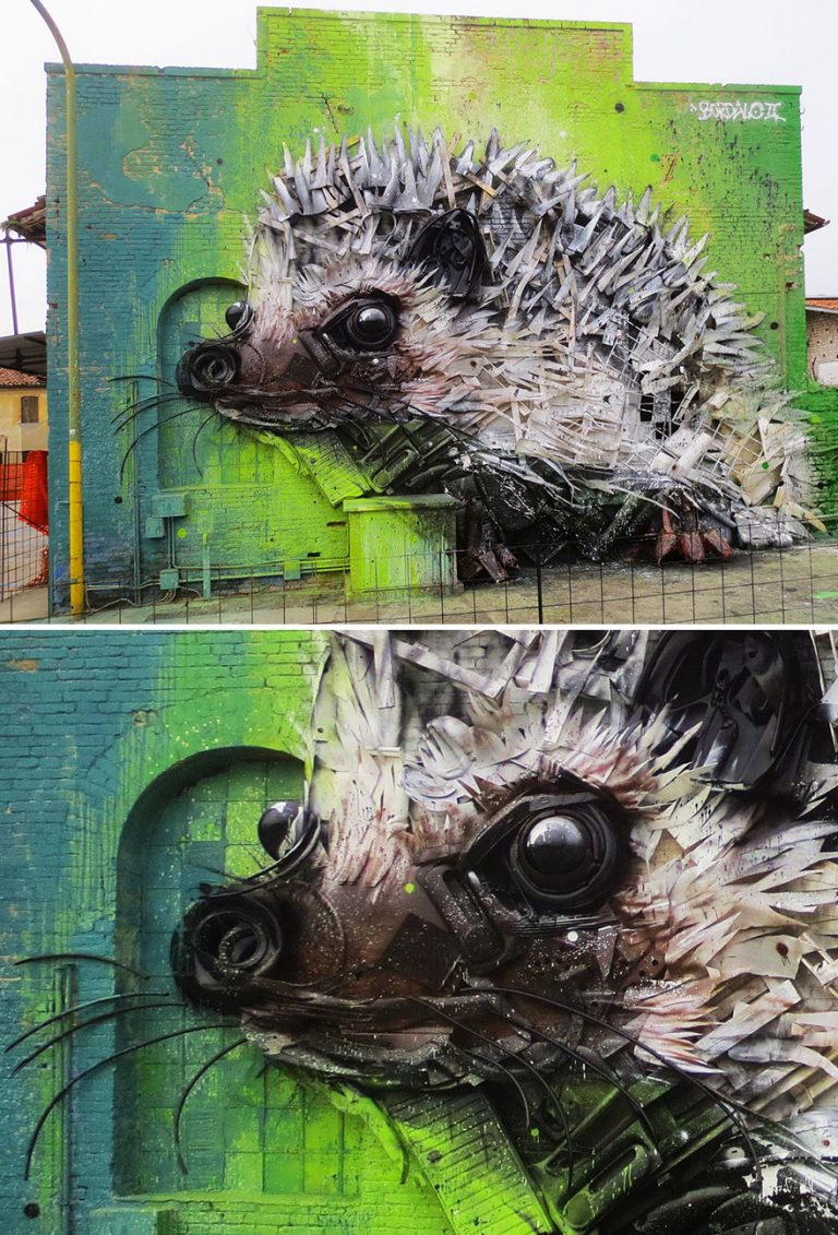 Street Artist Transforms Ordinary Junk Into Animals To Remind About Pollution - Hedgedog