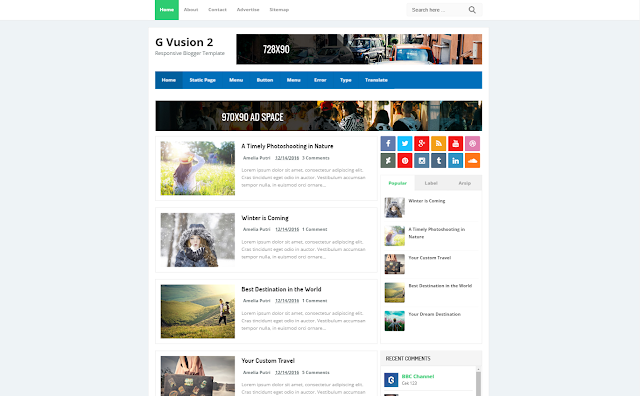 G Vusion 2 Update Responsive Blogger Template
