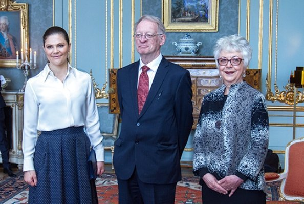 Princess Victoria wore Baum Und Pferdgarten Sashenka Pleat Skirt. Crown Princess Victoria presented Vega Medal. Professor Gillian Hart and Professor Arild Holt-Jensen