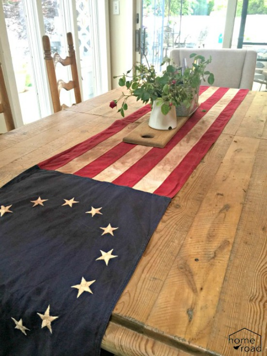 American Flag Table Runner on farmhouse table.