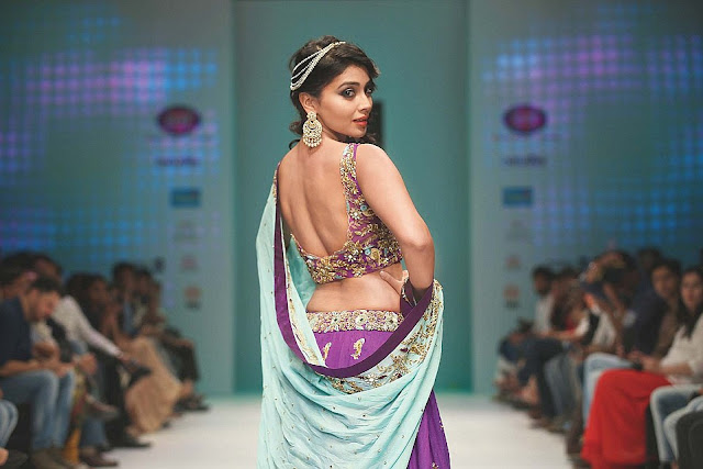 Shriya Saran Purple and Sea Blue Combination Lehenga at India Runway Week Spring/Summer 2016